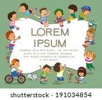 cartoon group of children on a... | Shutterstock .eps vector #191034854