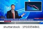 Live news studio with...