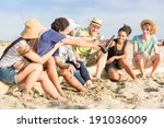 multiracial group of friends at ... | Shutterstock . vector #191036009