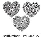 set of hearts with flowers.... | Shutterstock .eps vector #1910366227