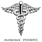 medical caduceus black and...
