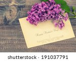 lilac flowers on wooden... | Shutterstock . vector #191037791