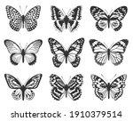 silhouette of black butterflies.... | Shutterstock .eps vector #1910379514