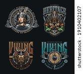 vintage colorful viking prints... | Shutterstock .eps vector #1910402107