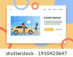 happy woman buying new car in...   Shutterstock .eps vector #1910423647