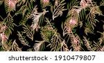 vintage leaf banana. pink... | Shutterstock . vector #1910479807