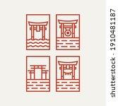 torii gate minimalist line art... | Shutterstock .eps vector #1910481187