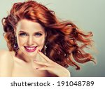 Beautiful Model With Curly Red...