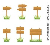 set of wooden signs in a grass... | Shutterstock . vector #191053157