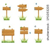 set of wooden signs in a grass... | Shutterstock . vector #191053205