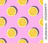 pattern made of lemon slices on ... | Shutterstock . vector #1910549977