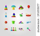 icons for children toys. set of ... | Shutterstock .eps vector #191055077