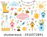 hello spring set with lettering ... | Shutterstock .eps vector #1910572891