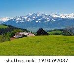 Alp Scheidegg view to swiss alps coverd in snow