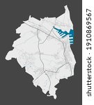 Gdynia map. Detailed map of Gdynia city administrative area. Cityscape panorama. Royalty free vector illustration. Outline map with highways, streets, rivers. Tourist decorative street map.