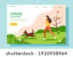 woman running with the dog in... | Shutterstock .eps vector #1910958964