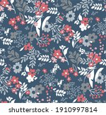 seamless floral tile fabric...   Shutterstock .eps vector #1910997814
