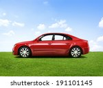 shiny red sedan in the outdoors. | Shutterstock . vector #191101145