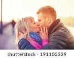 kissing european couple | Shutterstock . vector #191102339