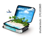 open suitcase with a tropical... | Shutterstock . vector #191102885