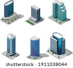 isometric set of building and... | Shutterstock .eps vector #1911038044