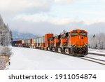 Winter Scene Of A Locomotive...
