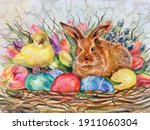 Watercolor Little Brown Rabbit...