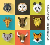 animal portrait set with flat... | Shutterstock .eps vector #191109491