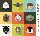 animal portrait set with flat... | Shutterstock .eps vector #191109509