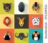animal portrait set with flat... | Shutterstock .eps vector #191109521