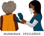 a black woman nurse wearing... | Shutterstock .eps vector #1911110014
