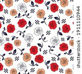 decorative roses with tile...   Shutterstock .eps vector #1911110944