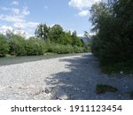 River Bed With Stones And Shade.
