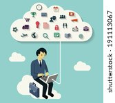 businessman using computer... | Shutterstock .eps vector #191113067