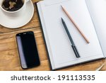 notebook with pen  pencil ... | Shutterstock . vector #191113535