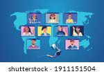 businessmen use video...   Shutterstock .eps vector #1911151504