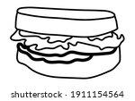 ham sandwich line art vector... | Shutterstock .eps vector #1911154564