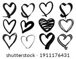 scribble heart shaped doodle... | Shutterstock .eps vector #1911176431
