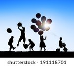 silhouettes of children playing ... | Shutterstock . vector #191118701