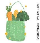 cartoon vegetables in eco bag... | Shutterstock .eps vector #1911213121