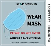 wear mask sign and symbol.... | Shutterstock .eps vector #1911225091