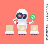 white friendly robot looking...   Shutterstock .eps vector #1911247711