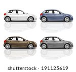 set of 3d hatchback car. | Shutterstock . vector #191125619