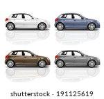 set of 3d hatchback car. | Shutterstock . vector #191125619