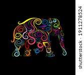 elephant ornate  sketch for... | Shutterstock .eps vector #1911278524