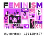 feminist mosaic illustration... | Shutterstock .eps vector #1911284677