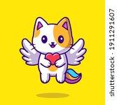 cute cat unicorn holding heart...   Shutterstock .eps vector #1911291607