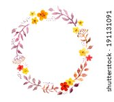 floral ring wreath with retro... | Shutterstock . vector #191131091
