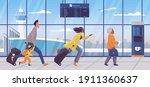 family late for plane flight... | Shutterstock .eps vector #1911360637