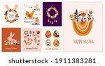 boho easter concept design ... | Shutterstock .eps vector #1911383281